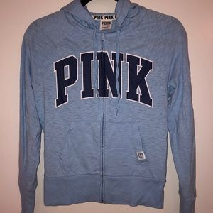 PINK Victoria's Secret blue hoodie jacket zip up